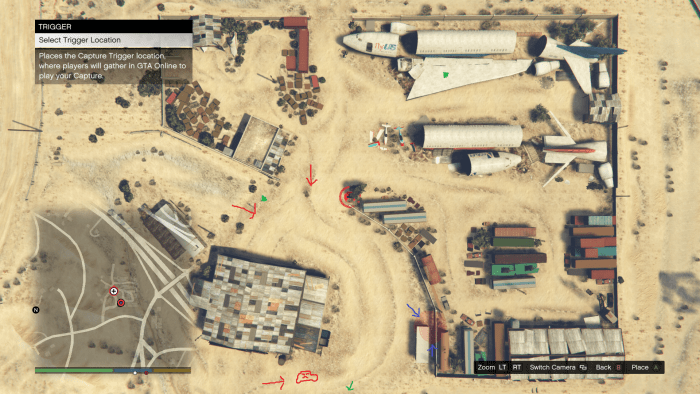 Red arrows represent enemy approaches, blue arrow is the location of your position, green dots are Body Armor locations. Poorly drawn car (I forgot the wheels . . . ) is where enemy vehicles come from (while playing Solo).