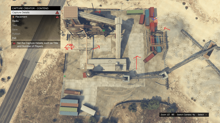 Red arrows represent enemy approaches, the blue arrow is the location of your position, green dots are Body Armor locations, and the Poorly drawn car is where enemy vehicles come from (while playing Solo).