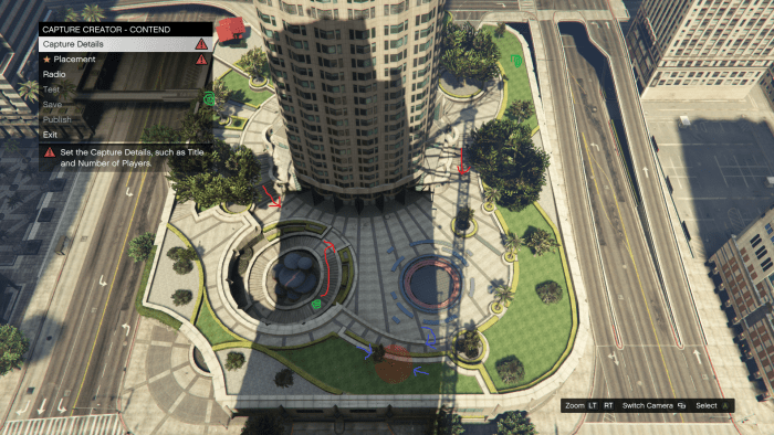Blue arrows and red orb show the Solo position. Red arrows represent directions enemies come from. Green cinnamon swirls are Body Armor locations. Enemy Vehicles aren't really a concern outside of Co-op mode.