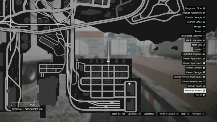 The location, at the docks, where your Personal Aircraft will spawn.