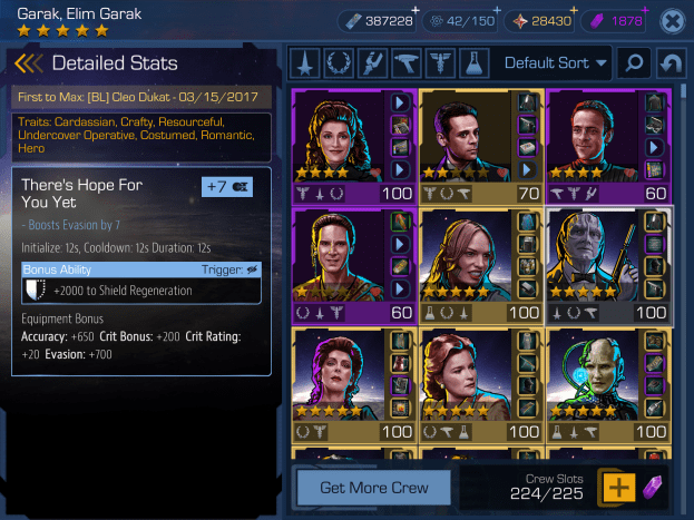 Detailed info about the Garak, Elim Garak crew.