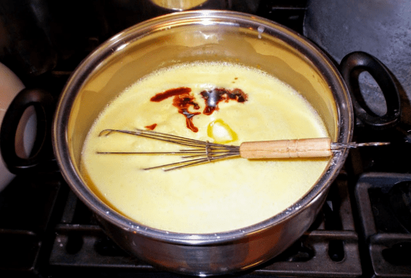 Turn off heat, and thoroughly whisk in butter and vanilla extract.
