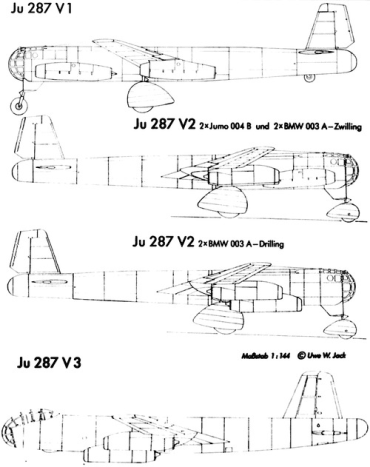 Drawings of the Junkers Ju 287 prototypes