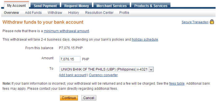 Finalizing the details of your withdrawal to Bank Account