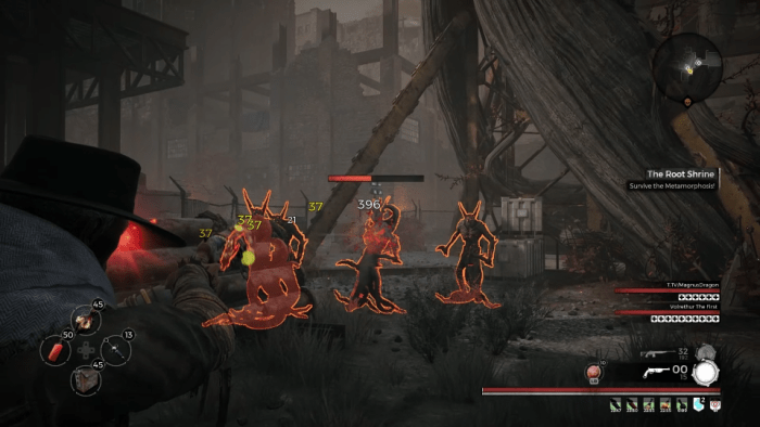 Fighting a pack of Root Devils.