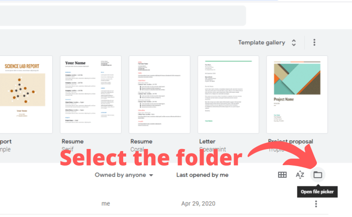 Select the folder in the middle of the page on the right-hand side.