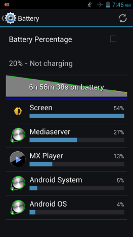 Battery details at the end of playback