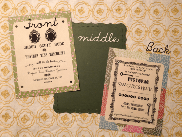 add ribbon and glue each side to the green middle, creating one invitation