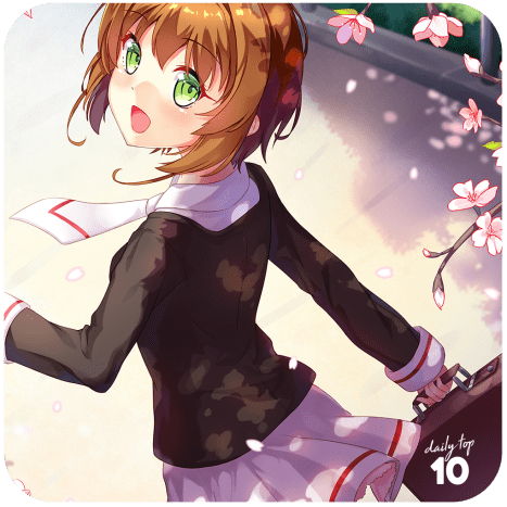 Sakura on her way to school.