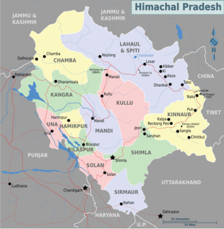 The map of Himachal Pradesh