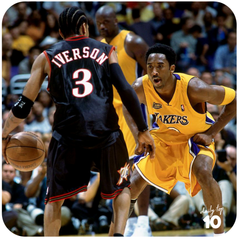 Allen Iverson squares up against Kobe Bryant in the 2001 NBA Finals.