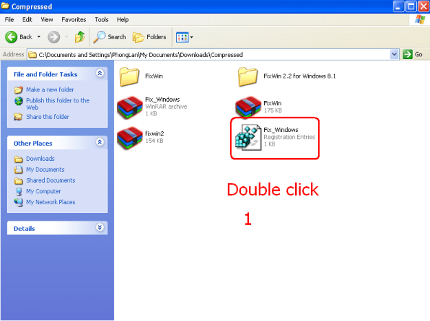 double click file fix_window.reg