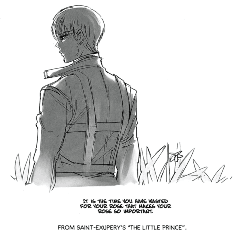 "Ishida's drawing of Arima with a quote from ""The Little Prince""."