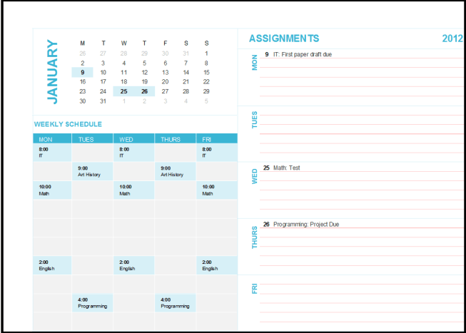 Microsoft Excel template: Student weekly planning calendar (any year, Mon-Sun). Changing the dates on the Assignments highlights the relevant dates in the mini calendar.