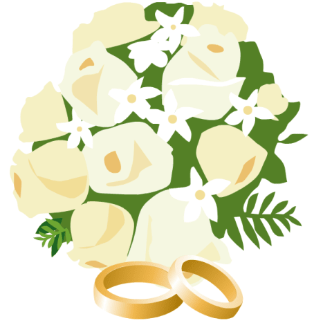 wedding bouquet with two gold wedding bands