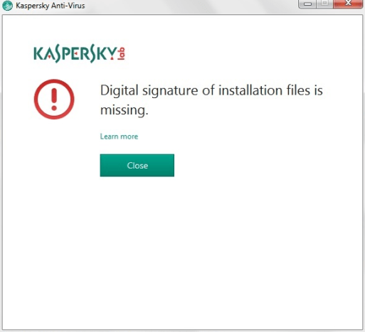 Kaspersky error digital signature on home user.