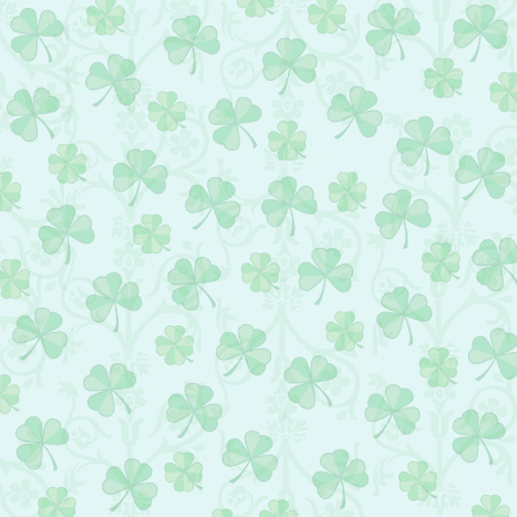 Free scrapbook papers: Green shamrocks on a blue background