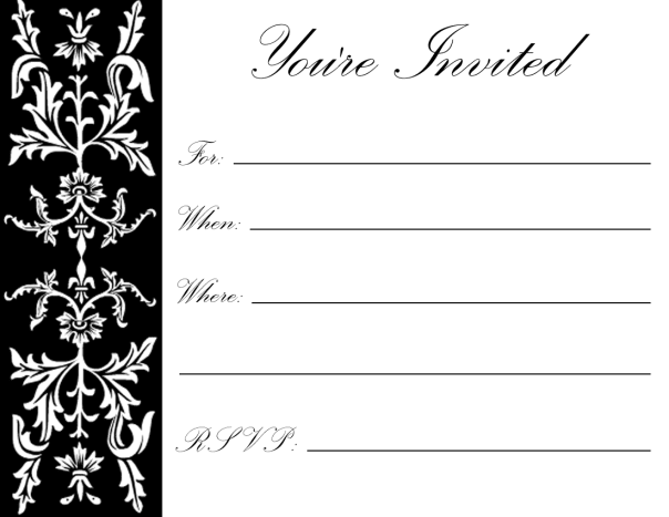 Black formal floral filigree on white background -- great for holiday parties