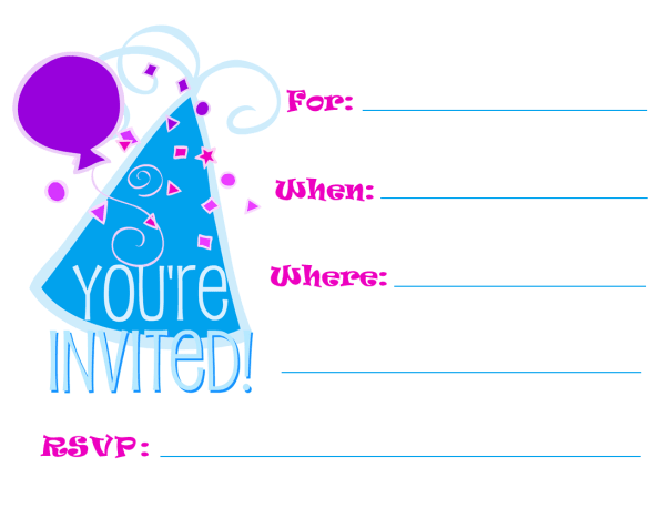 Invitation with blue birthday hat and balloon on white background