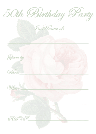 Vintage pink rose 50th birthday invitation