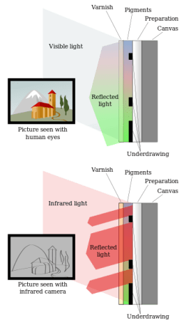 This picture shows how the infrared light is used to uncover the underdrawings lying beneath the color pigments of a painting. The human eye cannot see through the pigments. As the infrared light goes through, it can reveal what lies beneath