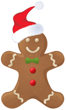 Gingerbread man with Santa hat.