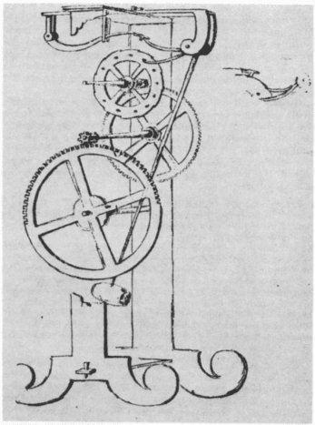 Drawing of pendulum clock designed by Galileo Galilei around 1641, drawn by Vincenzo Viviani in 1659. Part of the front supporting plate is removed by the artist to show the wheelwork. Probably the first design for a pendulum clock although it didn't
