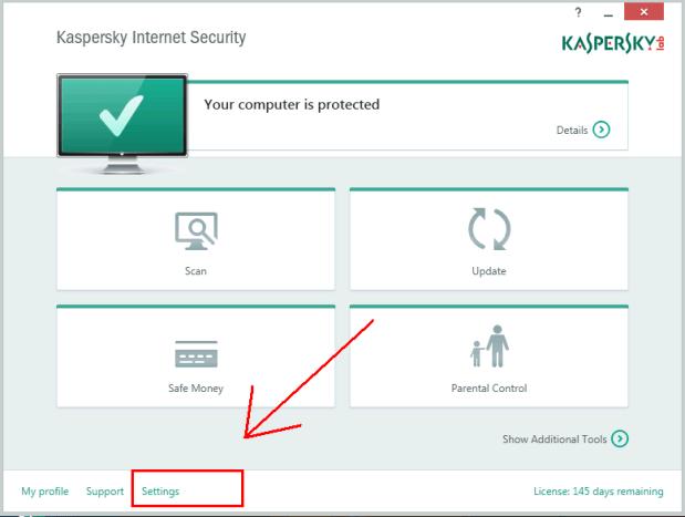 Open Kaspersky Settings