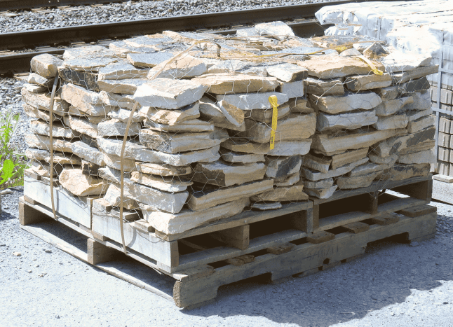 a. Asymmetrical stones on a pallet.