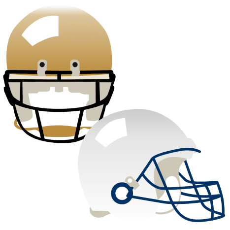 Superbowl Saints gold and Colts white football helmets clip art