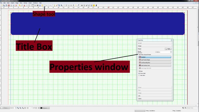 Pointing out the properties window, the title box, and the shape tool.