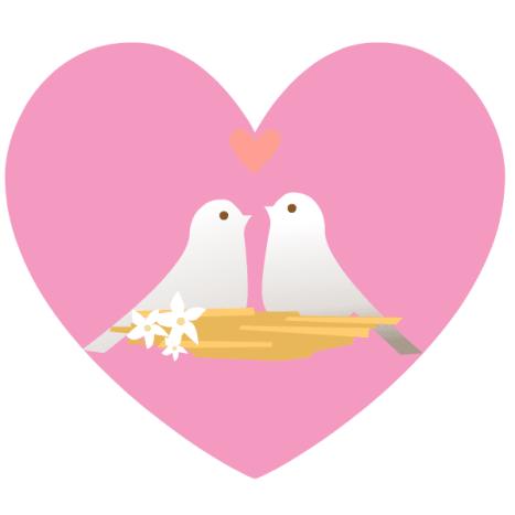 Lovebirds pink heart clip art image