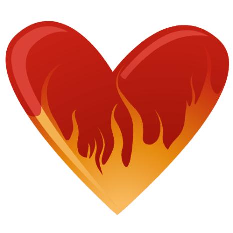 Heart on fire clip art