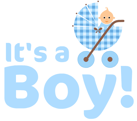 """It's a Boy!""free baby clipart with blue baby carriage"