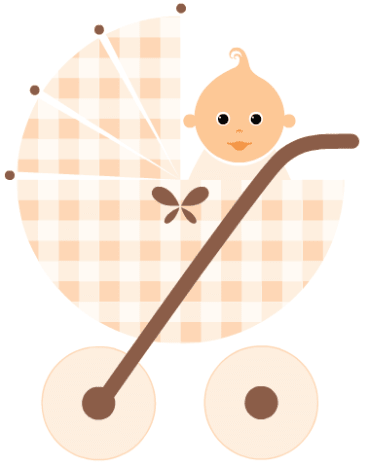 Free baby clipart: baby in a beige baby carriage