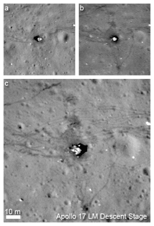July and September 2009 LRO passes above the Apollo 17 site (a, b) compared to the fall 2011 low-altitude pass.