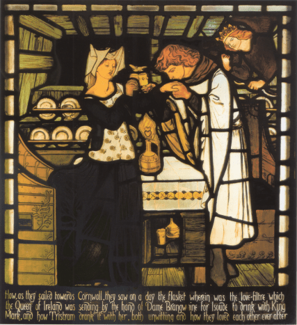 One of a set of 13 stained glass panels designed by Rossetti and commissioned from Morris, Marshall, Faulkner & Co. by Walter Dunlop for Harden Grange near Bingley Yorkshire. 1855