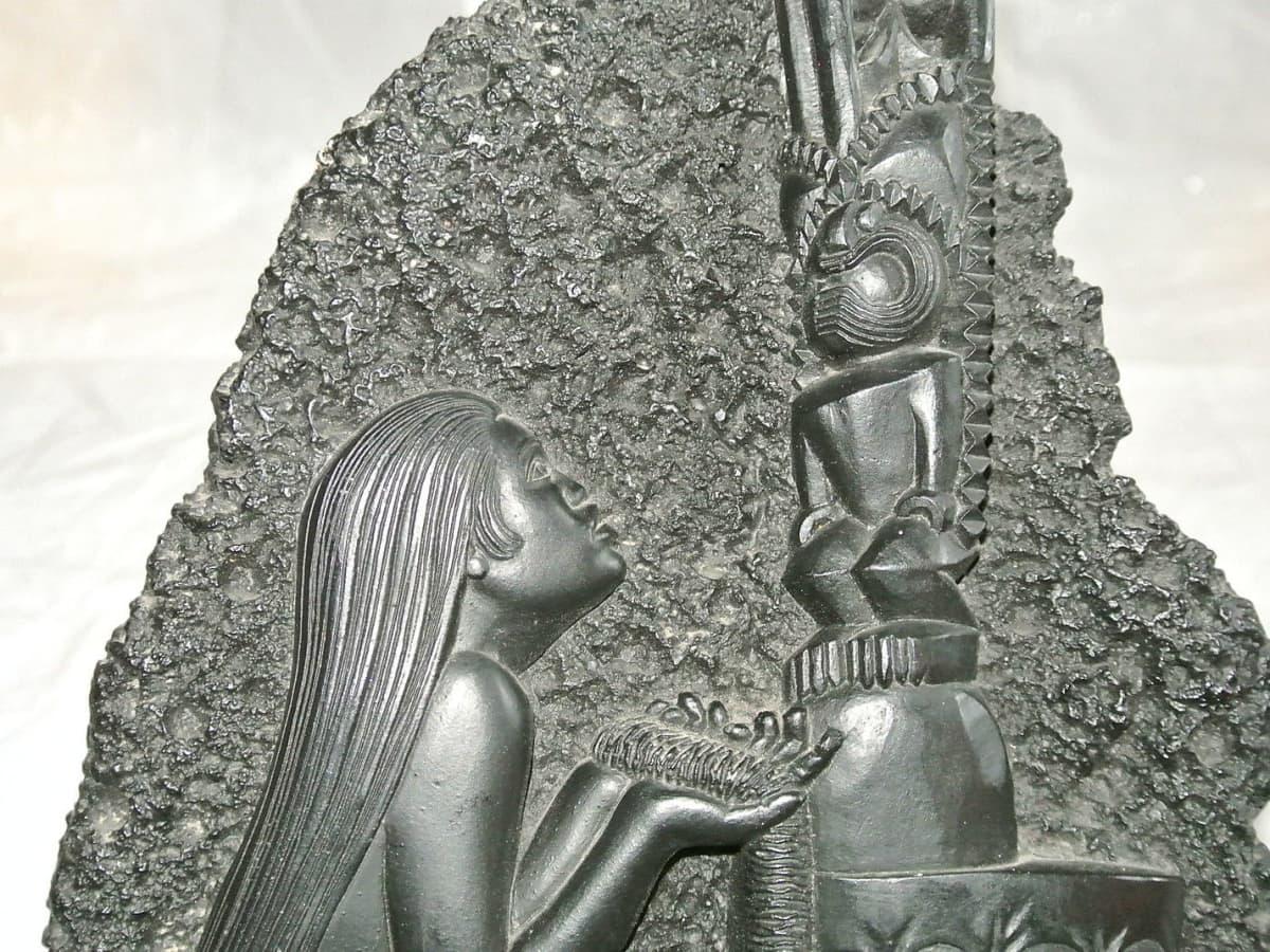 Coco Joes Hawaii hula girl ashtray 137 black lava No