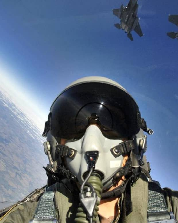 airplane, Inside cockpit of USAF F-15E Strike Eagle flying in formation with other F-15E fighters (photo courtesy of USAF)