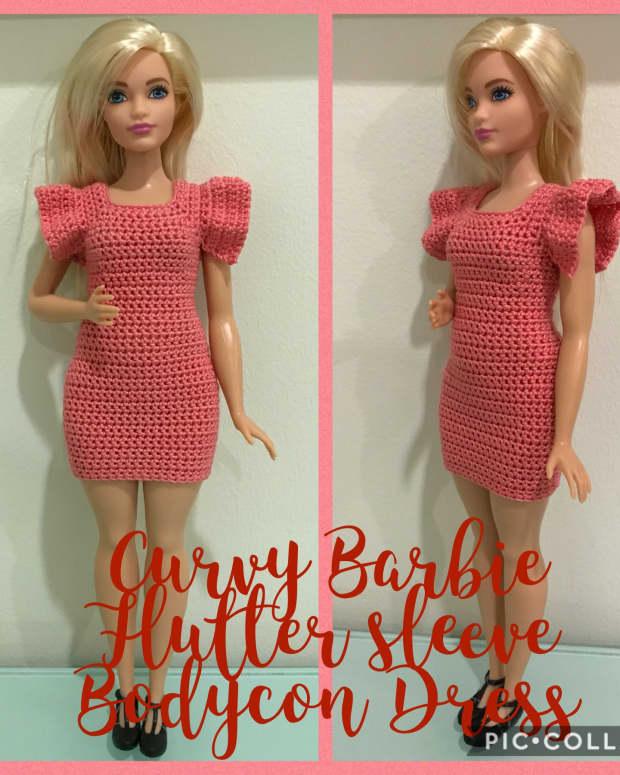 curvy-barbie-flutter-sleeve-bodycon-dress-free-crochet-pattern