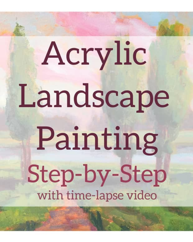 Acrylic landscape painting step-by-step with time lapse video.