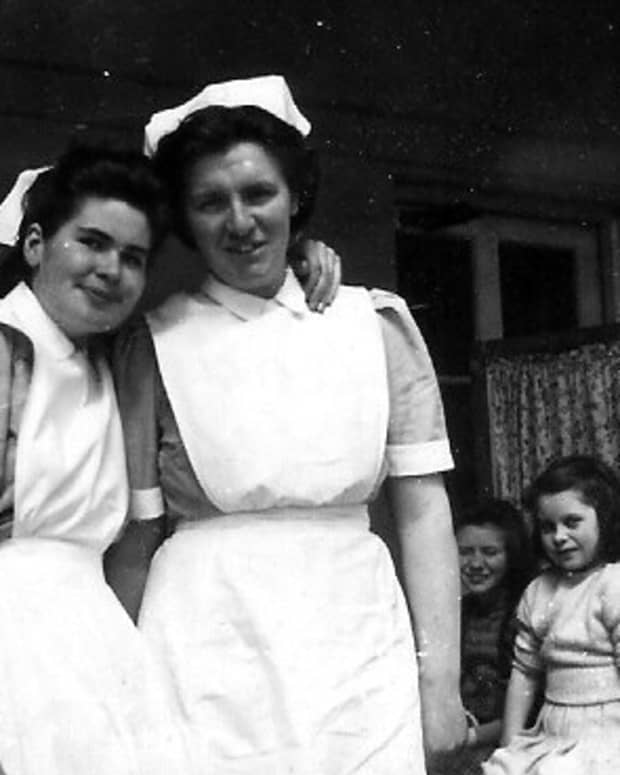Nurses, patients and visitors  in the TB ward 1947