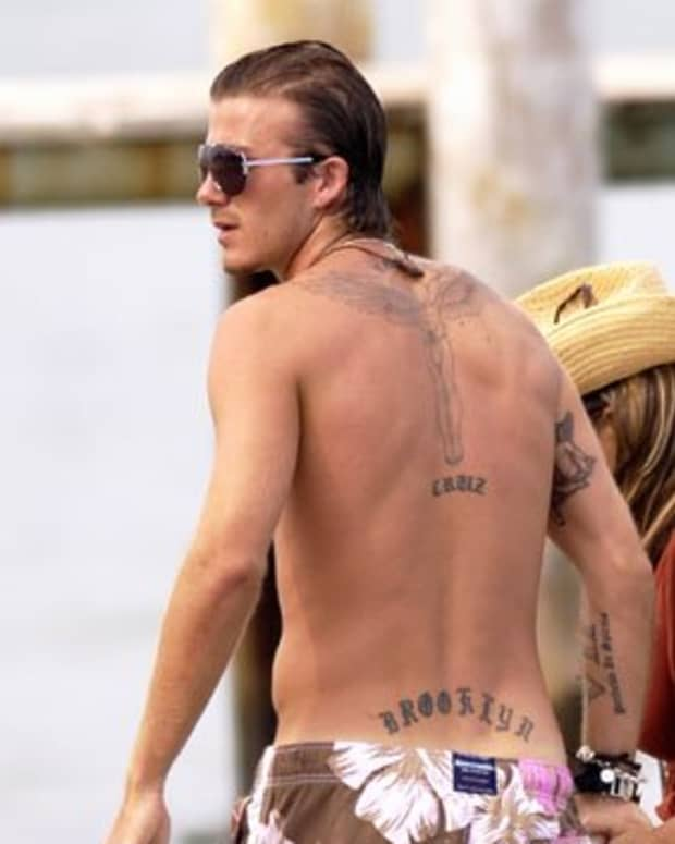 Soccer great David Beckham has several lettering tattoos