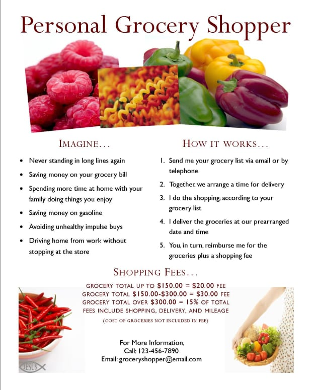 This flyer is eye catching and includes pertinent information about the personal grocery shopping business