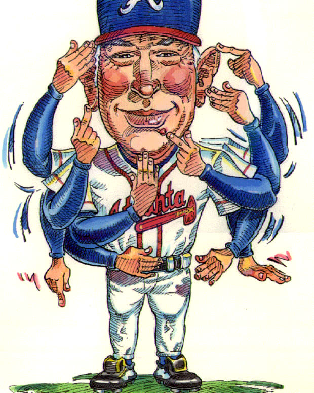 Caricature of former Braves coach Bobby Dews.   Courtesy of gtalumni.org