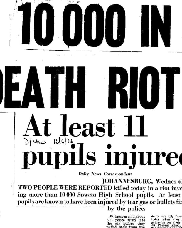 Headline in the afternoon newspaper The Daily News on 16 June 1976