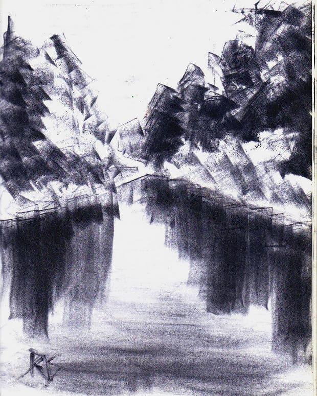 "Blue Lake Scene, 8 1/2"" x 11"" in Ultramarine Deep Dark Shade Pan Pastel by Robert A. Sloan"