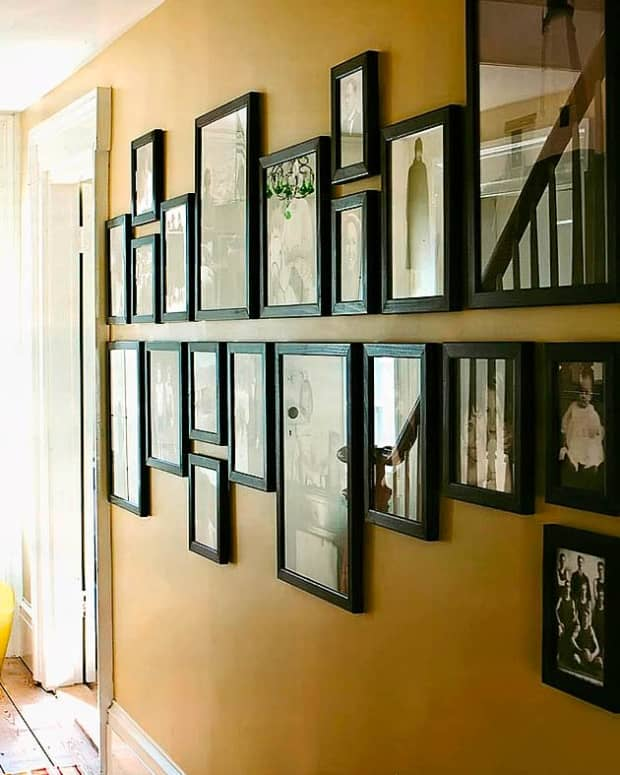 example of a graphic rectangular photo wall display