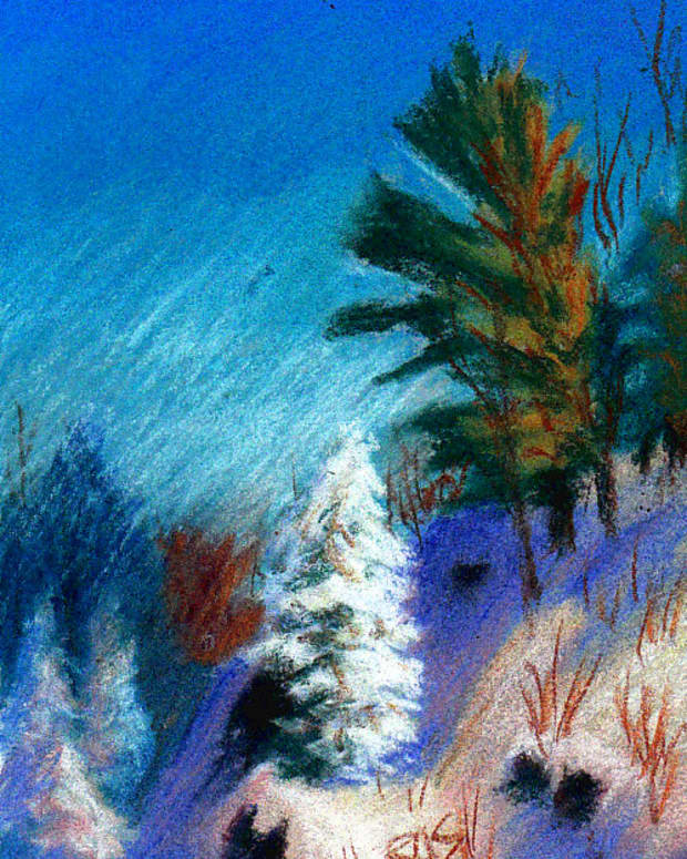 """A Winter Fantasy, 5"""" x 7"""" in Richeson semi-hard pastels on Fresh Grey Colourfix sanded pastel card, by Robert A. Sloan"""