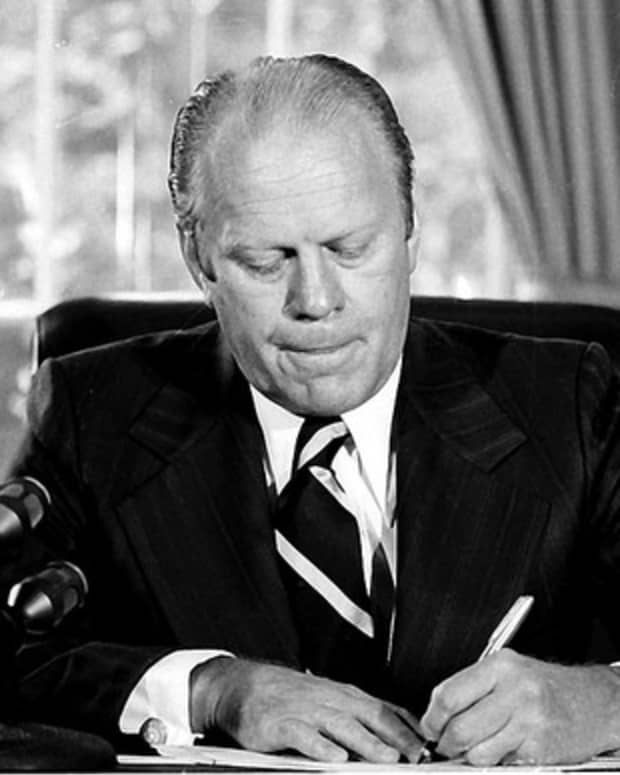 On Septemer 8, 1974 President Gerald R. Ford pardoned former President Richard M. Nixon for his involvement in the Watergate political scandal.